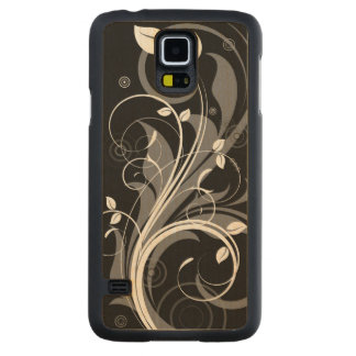 Gray Floral Pattern on Black Carved® Maple Galaxy S5 Case