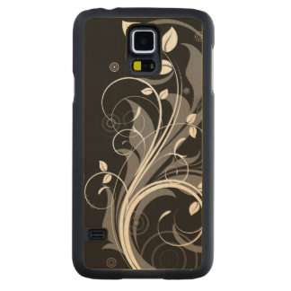 Gray Floral Pattern on Black Carved® Maple Galaxy S5 Slim Case
