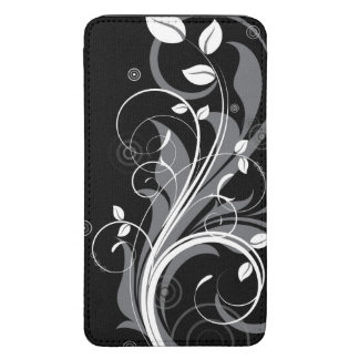 Gray Floral Pattern on Black Galaxy S5 Pouch