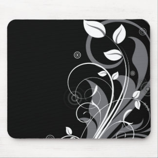 Gray Floral Pattern on Black Mouse Pad