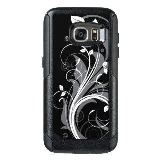 Gray Floral Pattern on Black OtterBox Samsung Galaxy S7 Case