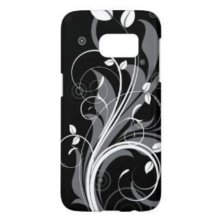 Gray Floral Pattern on Black Samsung Galaxy S7 Case