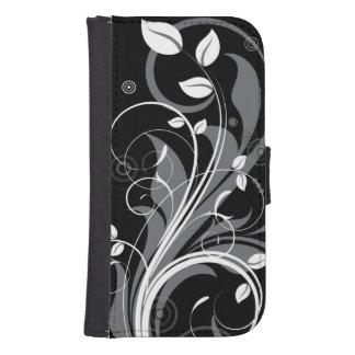 Gray Floral Pattern on Black Samsung S4 Wallet Case