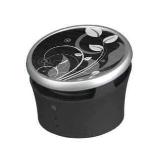 Gray Floral Pattern on Black Speaker
