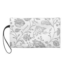 Gray Floral personalized Clutch bridesmaid gift
