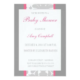Gray Floral Ribbon Baby Shower Invitation-pink 5x7 Paper Invitation Card