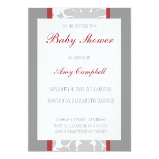 Gray Floral Ribbon Baby Shower Invitation-red