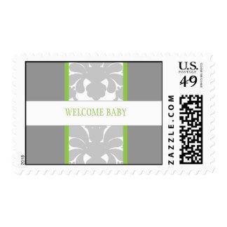 Gray Floral Ribbon Custom Postage-lime