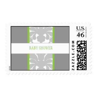 Gray Floral Ribbon Custom Postage-lime