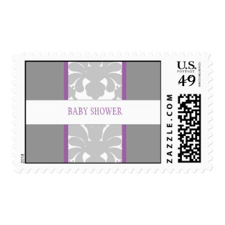 Gray Floral Ribbon Custom Postage-purple
