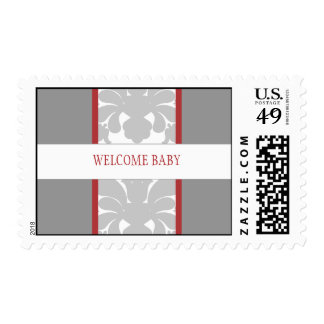 Gray Floral Ribbon Custom Postage-red