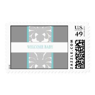 Gray Floral Ribbon Custom Postage-turquoise