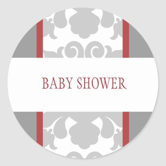 Gray Floral Ribbon Sticker-red Classic Round Sticker