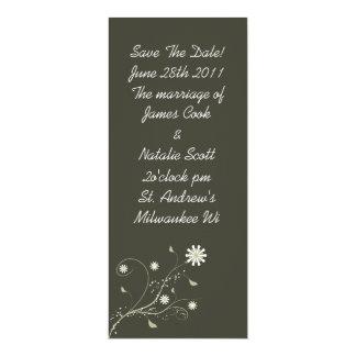 "Gray Floral ""Save the Date"" invite 4"" X 9.25"" Invitation Card"