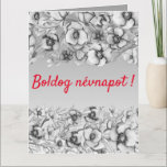 Gray  florals - Hungarian name day Card