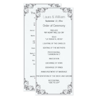 Gray Flourish Wedding Program