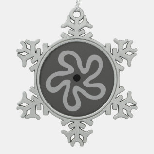 Gray Flower Abstract Pewter Snowflake Ornament at Zazzle