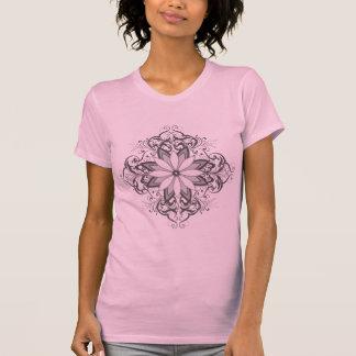 Gray Flower Design T-Shirt