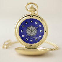 Gray Flower Ribbon (Bf) by K Yoncich Pocket Watch