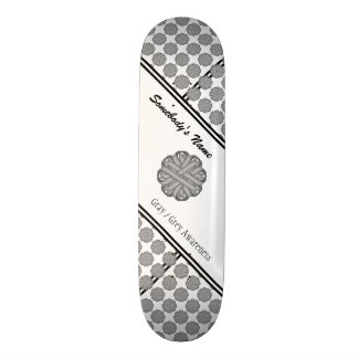 Gray Flower Ribbon by Kenneth Yoncich Skateboard
