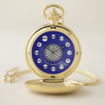 Gray Flower Ribbon (Kf) by K Yoncich Pocket Watch