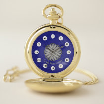 Gray Flower Ribbon (Rf) by K Yoncich Pocket Watch