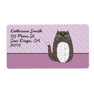 'Gray Folk Art Cat' Shipping Label