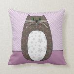 'Gray Folk Cat' Pillow