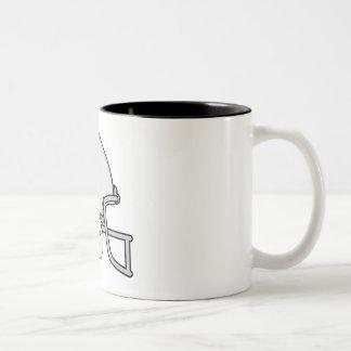 Gray football helmet Two-Tone coffee mug