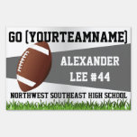Gray Football Yard Sign, Custom Name/School