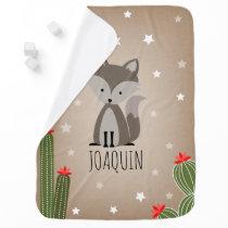 Gray Fox Desert Stars Cactus Baby Blanket