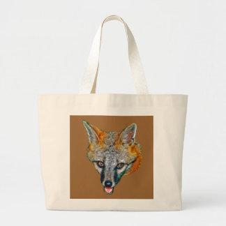 Gray Fox Drawing Jumbo Tote Bag