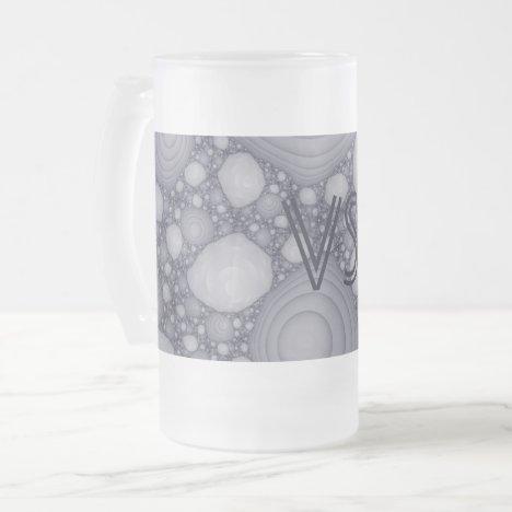Gray fractal frosted glass beer mug