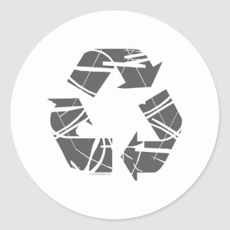 Gray Fractured Recycling Sign Classic Round Sticker