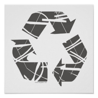 Gray Fractured Recycling Sign Poster