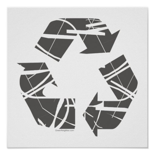 Gray Fractured Recycling Sign Posters