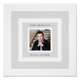 Gray Frames Photo Graduation Signature Poster