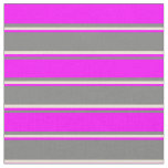 [ Thumbnail: Gray, Fuchsia, and Bisque Striped Pattern Fabric ]