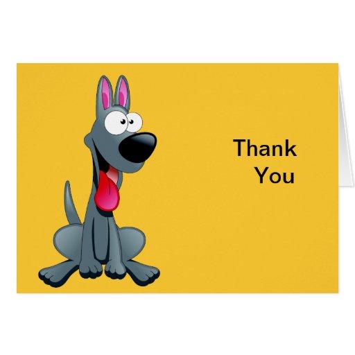 Gray Funny Dog Thank You Card | Zazzle
