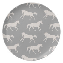 Gray Galloping Horses Pattern Dinner Plate