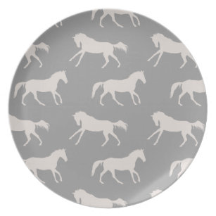 Gray Galloping Horses Pattern Dinner Plate  sc 1 st  Zazzle & Horse Pattern Plates | Zazzle