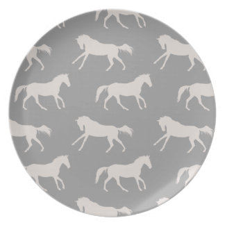 Gray Galloping Horses Pattern Dinner Plate