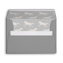 Gray Galloping Horses Pattern Envelope