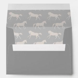 Gray Galloping Horses Pattern Envelope