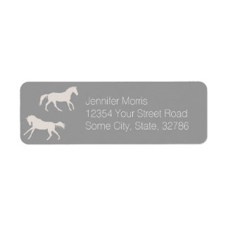Gray Galloping Horses Pattern Label
