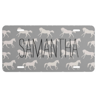 Gray Galloping Horses Pattern License Plate