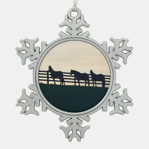 Gray Galloping Horses Pattern Ornament