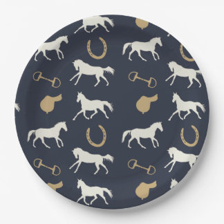 Gray Galloping Horses Pattern Paper Plate