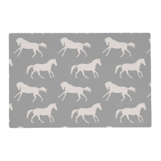 Gray Galloping Horses Pattern Placemat