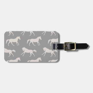 Gray Galloping Horses Pattern Tag For Luggage